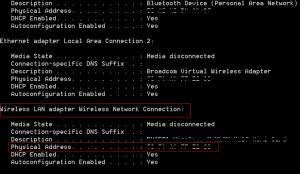 Ipconfig command to find mac address