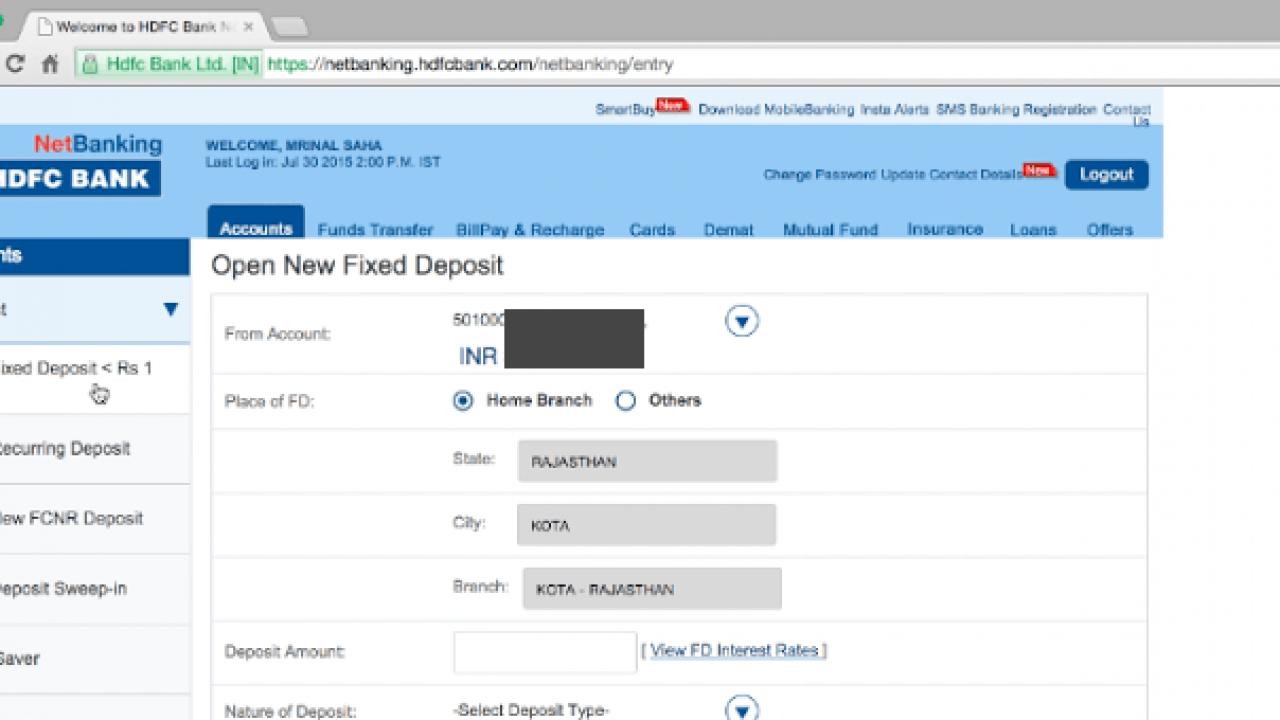How to Book or Break Fixed Deposit in HDFC online | TechWiser