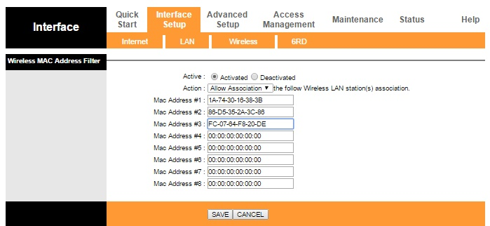 Mac Address filtering in Tp-link router