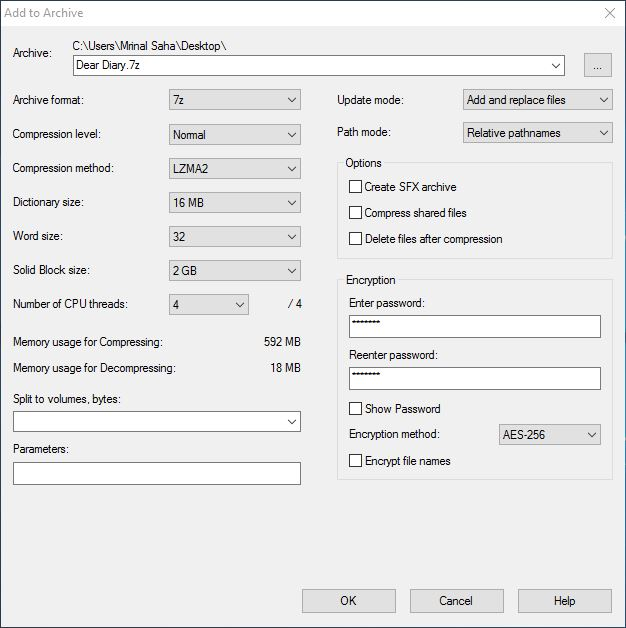 password protect folder using 7-zip encryption