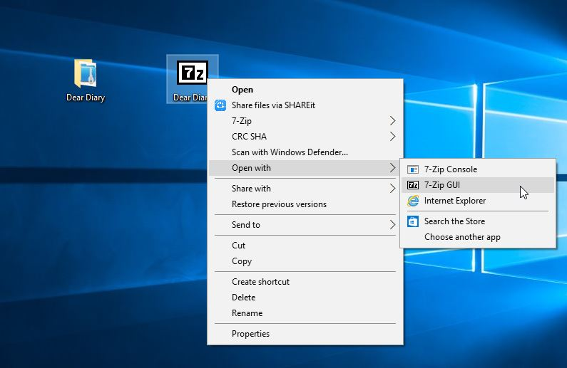 7zip password encryption menu