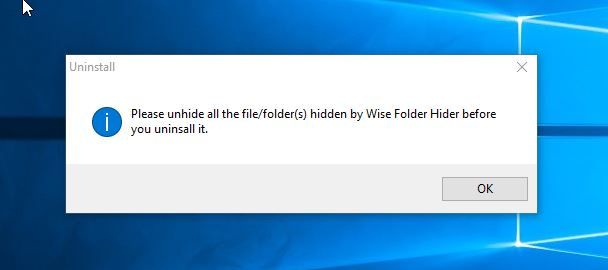 uninstalling wide hide folder