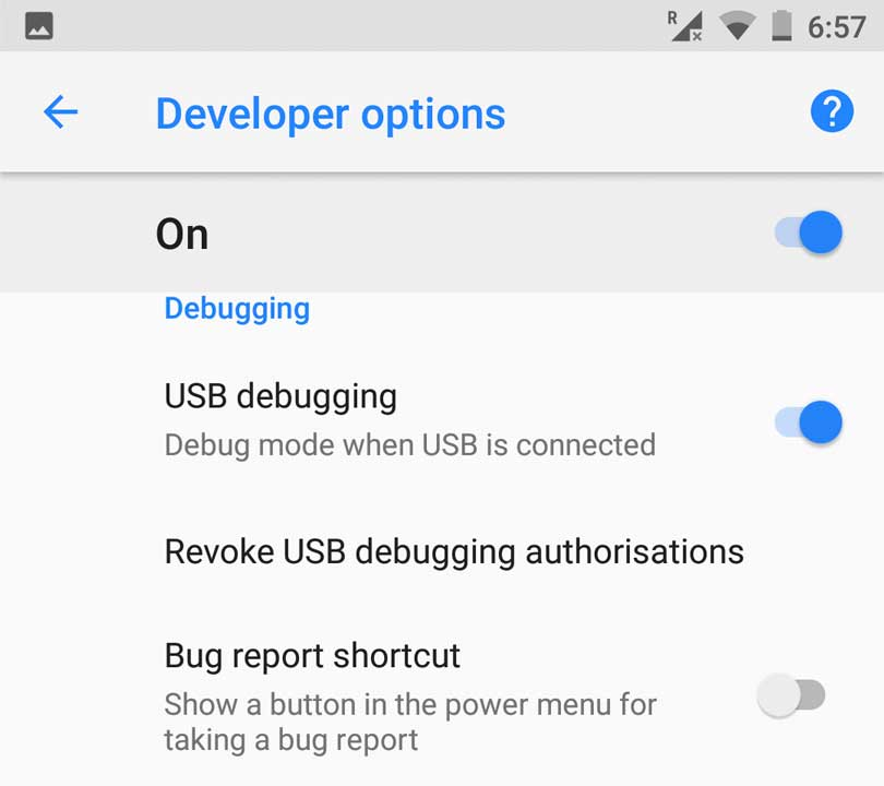 USB Debugging from the Developer option