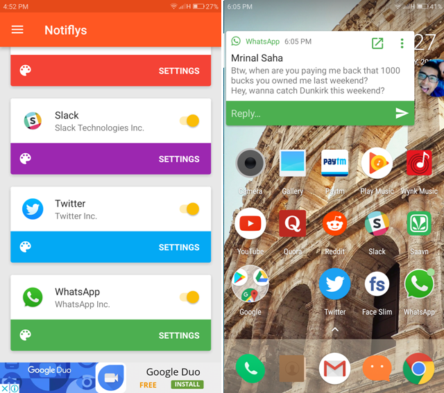 Android Apps For WhatsApp- notiffy