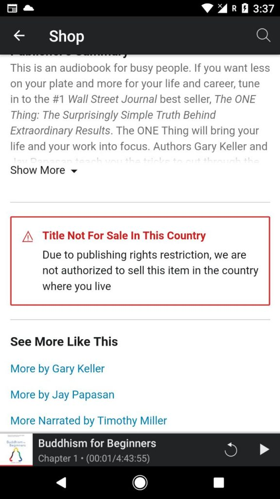 The title is not for sale in the country - Audible