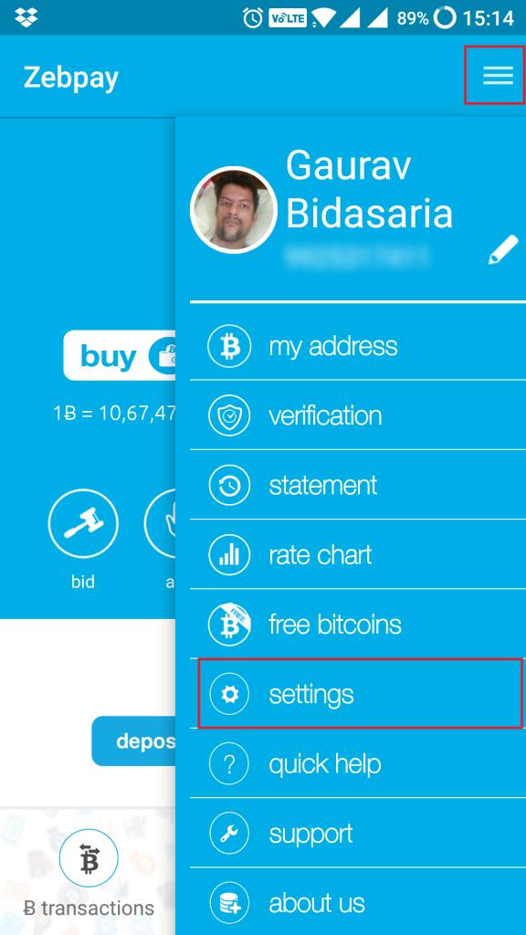 zebpay account settings