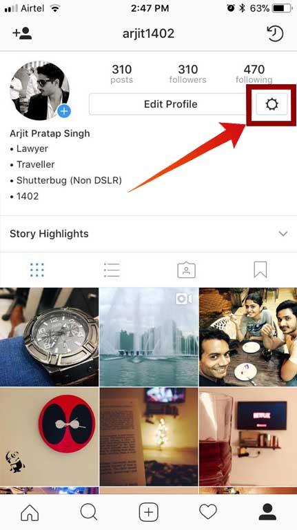 Instagram setting iphone