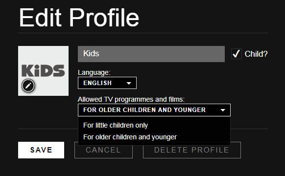 netflix kids profile edit