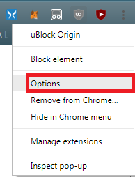 ublock origin options
