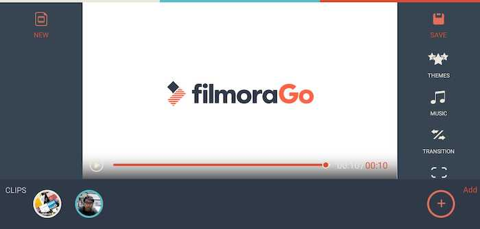 FilmoraGo app sceenshot with watermakr in the end of the video