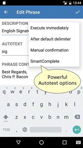 android text expander - PhraseExpress