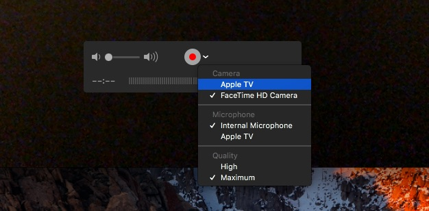 quicktime drop down menu