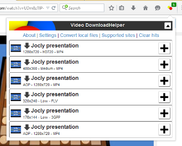 Addon video downloader for firefox.