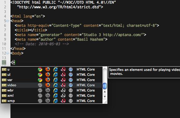 open html editor - aptana studio
