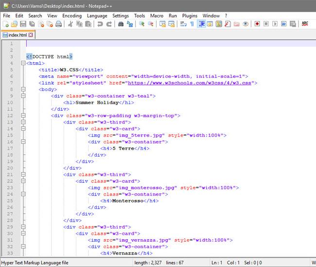 open html editor - notepad++