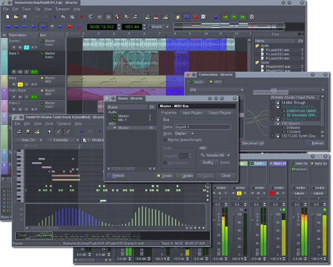 open source audio editors - Qtractor