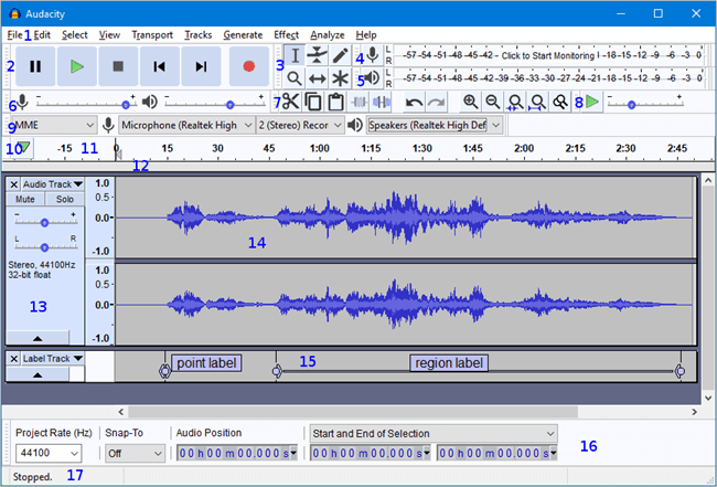 audacity window that has two waveforms shown