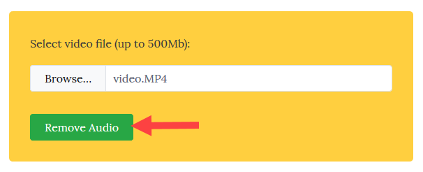 remove audio from video - click remove audio