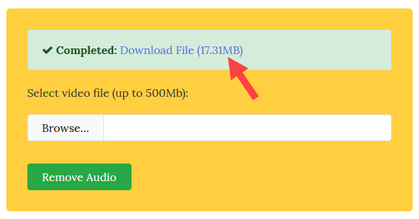 remove audio from video - download video file