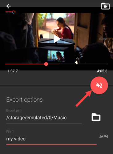 remove audio from video - tap on mute icon