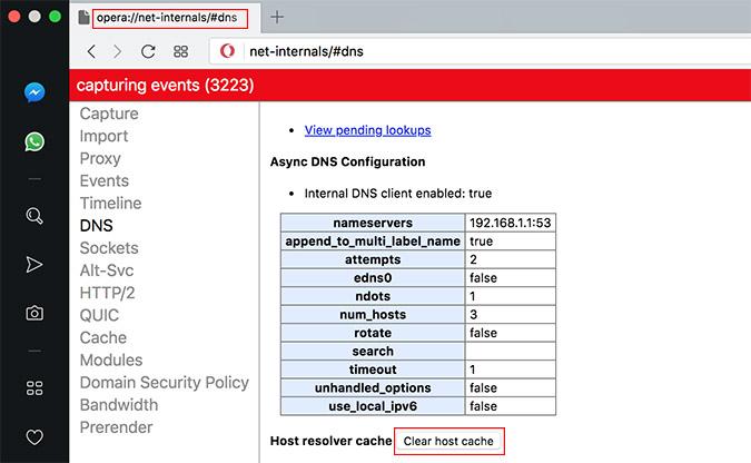Opera DNS Cache