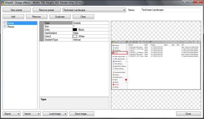 sharex border preset option