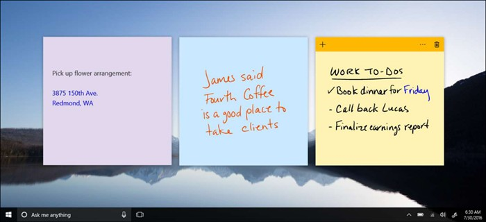 sticky notes by windows