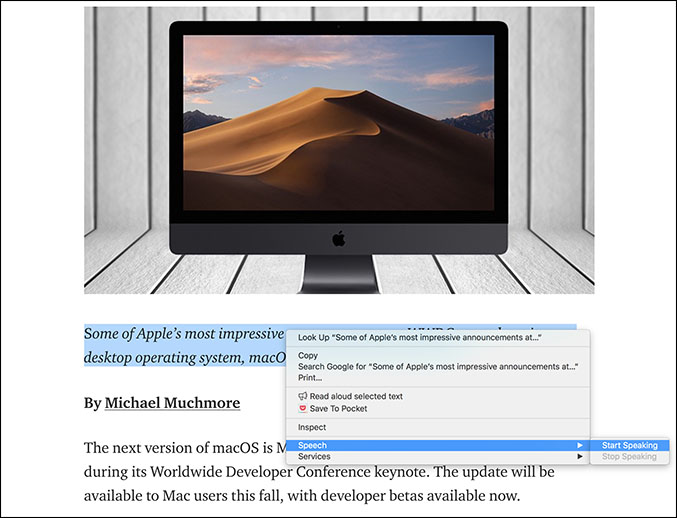 Mac OS Text To Speech