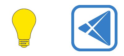 screenshot of two icons; one is a light bulb and other is a blue triangle