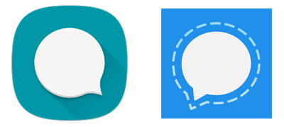 Signal and QKSMS app icon in the image