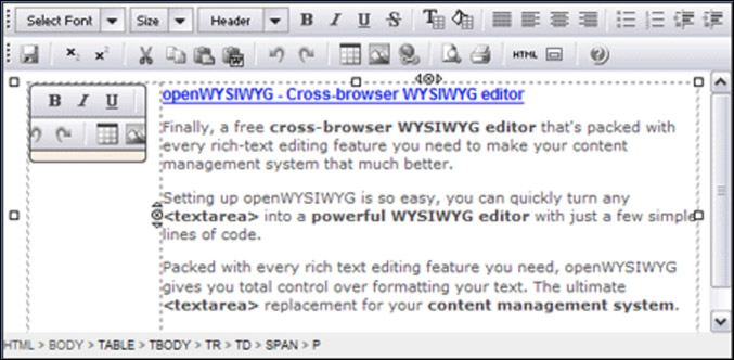 OpenWYSIWYG editor layout and UI