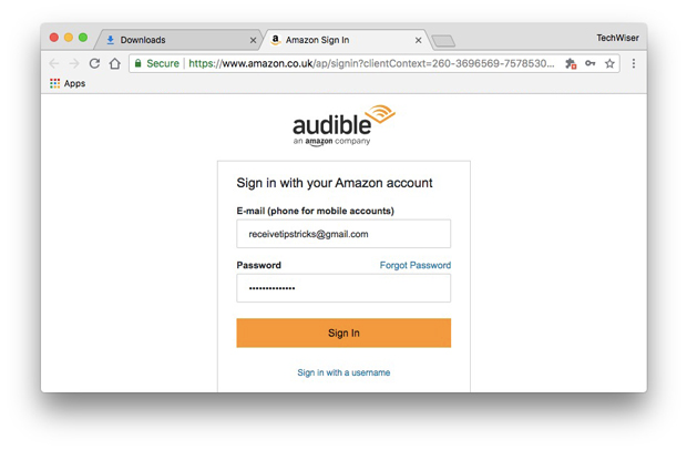 enter your Audible sign-in credentials