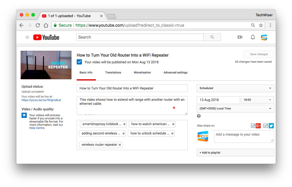 how to enable scheduled uploads on youtube