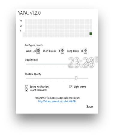 YAPA app screenshot showing the settings page.