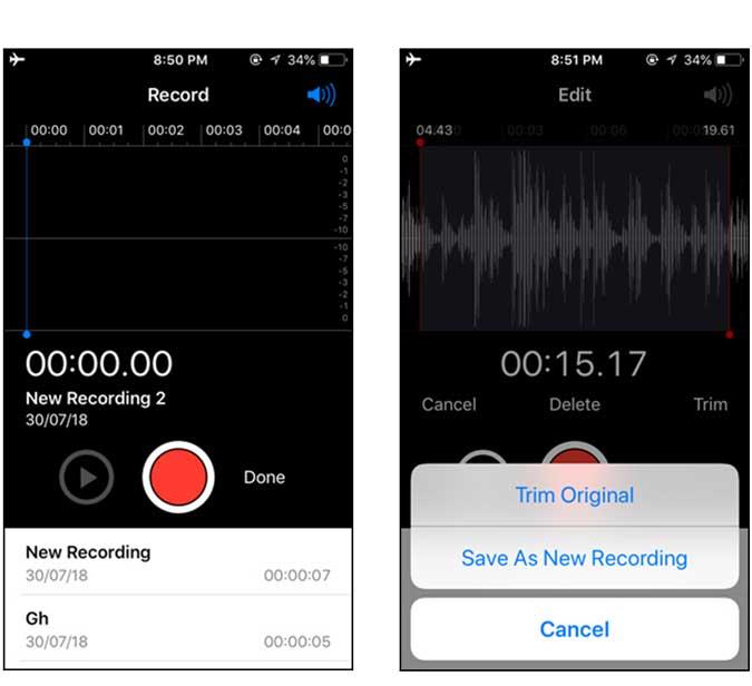 voice memos inbuilt app by apple