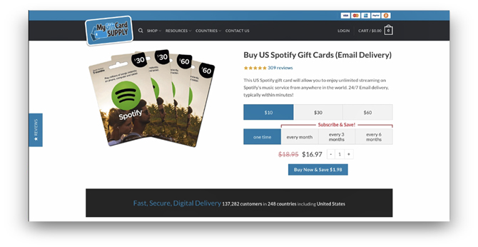 how to pay for spotify premium outside the us- Buy Page Spotify Gift cards