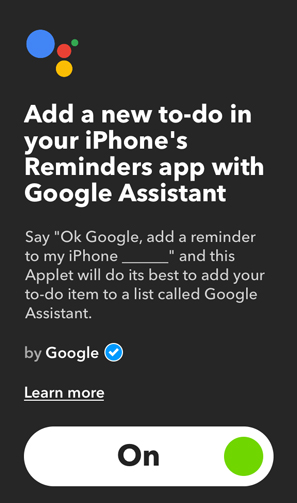 IFTTT Applets for Google Home- reminder iphone