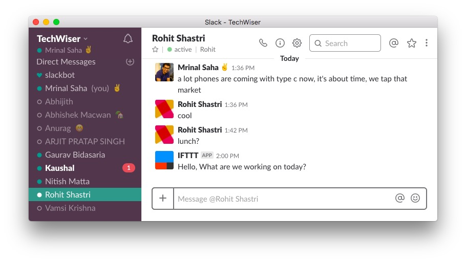 IFTTT with Slack