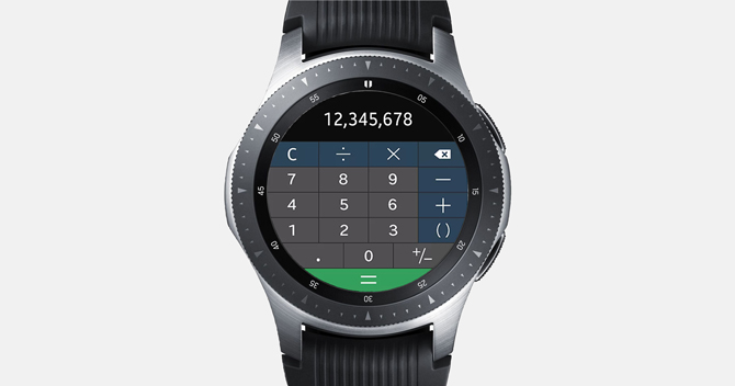 Screenshot of the Galaxy Watch with the calculator app and number 12345678