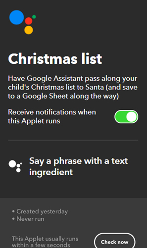 IFTTT Applets for Google Home- chirstmas list