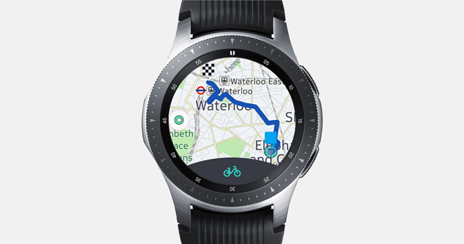 Screenshot of the Galaxy Watch with find my car and distance on the map