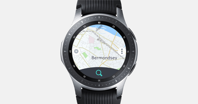 Screenshot of the Galaxy Watch with here WeGo map and a search button on the bottom.