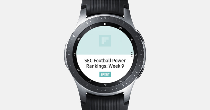 Screenshot of the Galaxy Watch with Flipboard app showing new about footballl