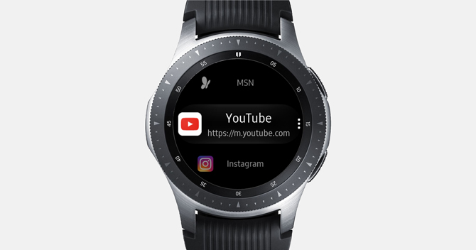 Screenshot of the Galaxy Watch with Samsung INternet browser showing Youtube and Instagram bookmarks