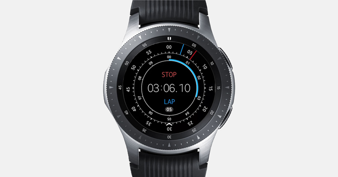 Screenshot of the Galaxy Watch with StopWatch showing 3 minute lap