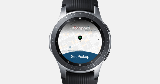 Screenshot of the Galaxy Watch with Uber app showing starting destination and a button to pickup