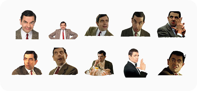 Cuplikan layar dari Mr Bean membuat wajah yang berbeda mulai dari yang konyol hingga yang konyol.,