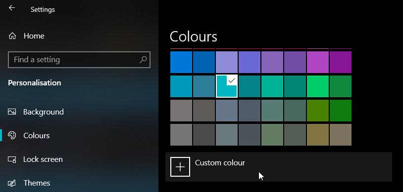 click custom color button in settings app