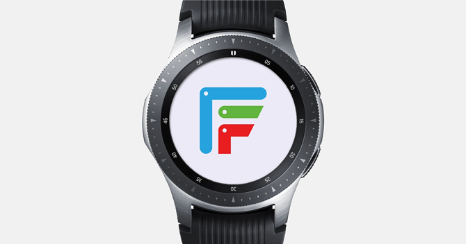 Screenshot of the Galaxy Watch with facer logo