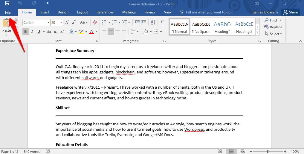 convert back to PDF from word
